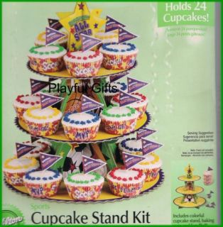 Sports Birthday Cupcake Stand Kit w Cupcake Picks