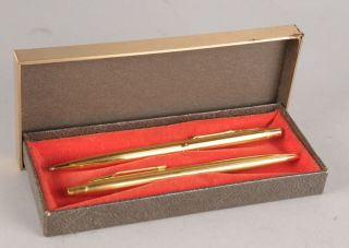 Ball Point Pen Mechanical Pencil Set Gold Tone in Original Box