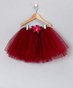 Little Girls Burgundy Lily Tutu Adjustable Waist New Fits Girls 2 8