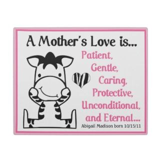 Baby Zebra Pink Mothers Love Poem Plaque