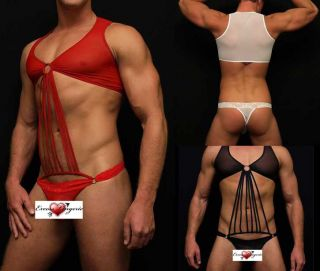 Mens Sexy MaleBasics Tie Me Up Thong Body Suit Man Teddy Lingerie