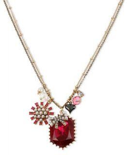 Betsey Johnson Necklace, Gold tone Fuchsia Crystal Gem Pendant