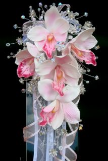 Swarovski Crystal Real Touch Orchids Wedding Bouquet