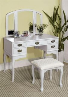 NEW DIANA WHITE FINISH MAKEUP VANITY TABLE SET