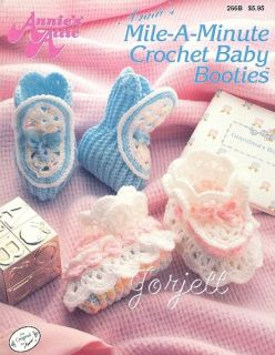 Annies Mile A Minute Baby Booties Crochet Patterns New