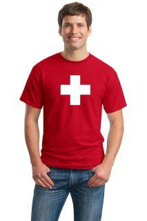 Swiss National Flag Adult Unisex T Shirt Switzerland Geneva Zurich Tee
