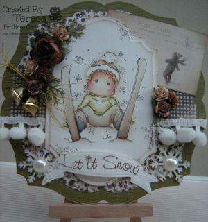 HAND MADE CHRISTMAS CARD~ MAGNOLIA SKI EDWIN WITH SNOWFLAKE 2012