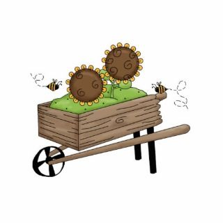 Sunflowers in Wheel Barrel Photo Cutouts