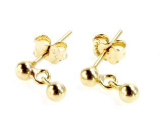 Gold 18K GF Earrings Tiny Ball 2mm Dangle Baby Kids Girl Infants