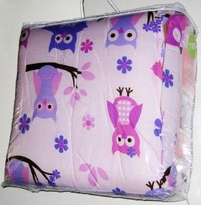 New Twin Size Cute Owl Comforter Blanket Girls Bedroom Pink Purple