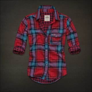 Hollister Women Red Plaid Button Down Shirt Top Small