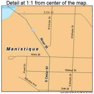 Manistique Michigan Street Road Map MI Atlas Poster P