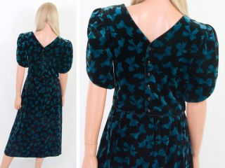 LANZ Green Ribbon Bow PRINTED VELVET Christmas HOLIDAY PARTY Dress M/L