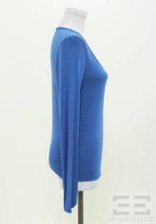 MM6 Maison Martin Margiela Cobalt Blue Jersey Knit LS Scoop Neck Top