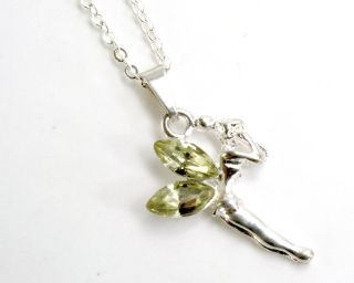 Sterling Silver Filled 925 Pendant Necklace Yellow Crystal Tinkerbell