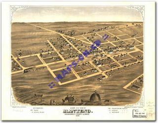 1869 Manteno Illinois Kankakee County IL USA Map CD