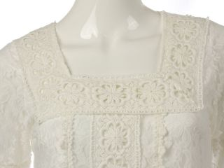 N41 Gorgeous Square Neck Crochet Lace Dress White Sz S