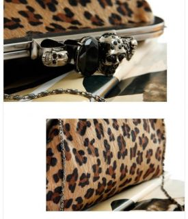 Women Lady Skull Knuckle Ring Leopard Clutch Bag Evening Shoulder