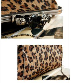 Women Lady Skull Knuckle Ring Leopard Clutch Bag Evening Shoulder