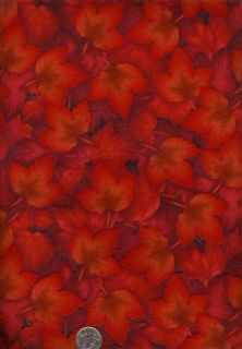 Glorious Red Maple Leaves Fabric Kona Bay New