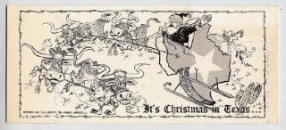 Harold Maples Custom Drawn Christmas in Texas Card for Pig Roast