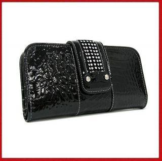 Handbags(Marc Chantal) Black Genuine Leather Clutch Wallet/FREE