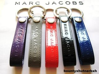 Marc Jacobs Black Patent Leather Keychain Key Chain Ring Loops