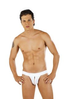 Sexy Mens PPU Underwear Thong Open Pouch Black White or Gray