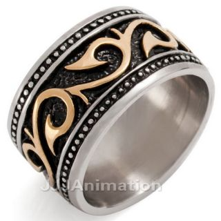 Unique Men Stainless Steel Ring Vintage VE159 Size 8 12