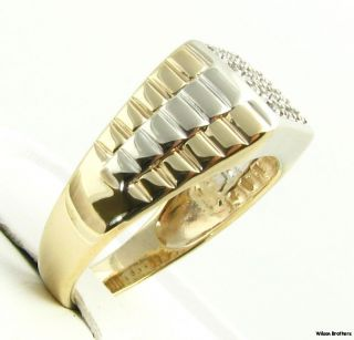 Band Style .15ctw Genuine DIAMOND Mens RING   10k White & Yellow Gold