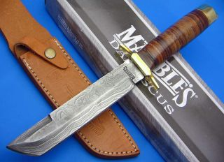 Marbles Tanto Damascus Steel Fixed Blade Stacked Leather Handle Knife