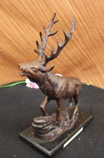 Bronze Marble Statue Elk Stag Buck Trophy Lodge Decor Sculpture Figure