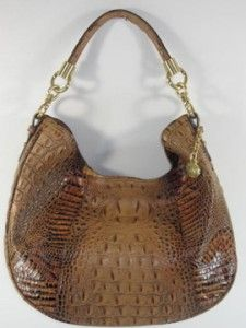 Brahmin Toasted Almond Brown Carmela Croc Embossed Leather Hobo Bag