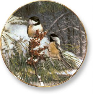 Marc Hanson Winter Fare Chickadees Collector Plate