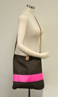Marc Jacobs Canvas & Leather Tote Bag   Brown & Neon Pink w/ Vachetta