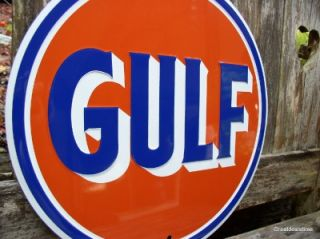 MAN CAVE SIGN GULF Vintage look Gas & Oil Logo Emblem Garage