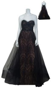 Marchesa Couture Black Lace Fitted Ruched Tulle Beaded Evening Gown