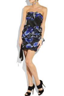 1295 Marchesa Notte Ruched Floral Print Silk Organza Gown Dress 4 8