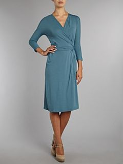 MaxMara Studio Papy long sleeved jersey wrap dress Teal