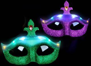 Flashing Mardi Gras Face Mask Purple