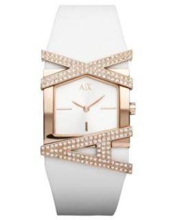 Armani Exchange Watch, Womens White Silicone Bracelet 39x28mm