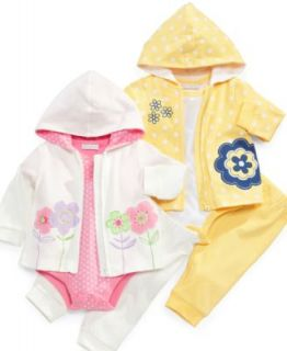 First Impressions Baby Set, Baby Girls Flower Hoodie, Bodysuit, and