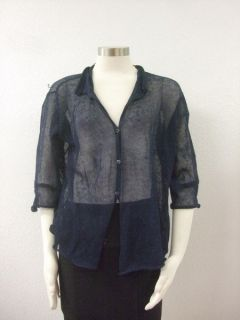 NWT Margaret Oleary $187 Navy blue Knit Eyelet Button front shirt Top