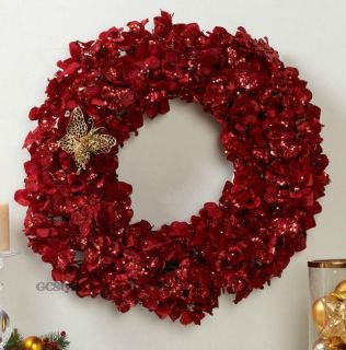 Mariah Carey 24 LED Ruby Red Hydrangea Wreath