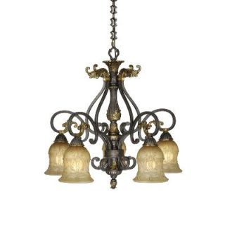 Light Chandelier Lighting Fixture, Walnut Bronze Patina, Margaux Glass