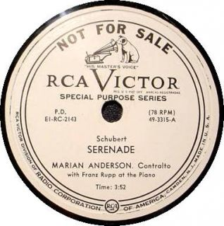 Victor 12 78 RPM Special Purpose Series B P O Marian Anderson
