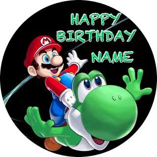 Super Mario Bros Galaxy Edible Image Cake Icing Topper