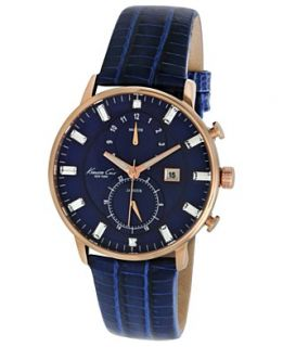 Kenneth Cole New York Watch, Womens Chronograph Blue Lizard Embossed