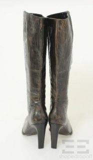 Marina Rinaldi Dark Brown Textured Leather Knee High Boots Size 40