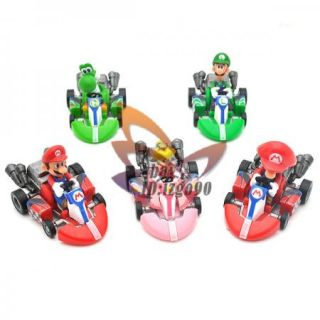 Lot 5 Mario Bros Kart Pull Back Car Figure Toy MS80